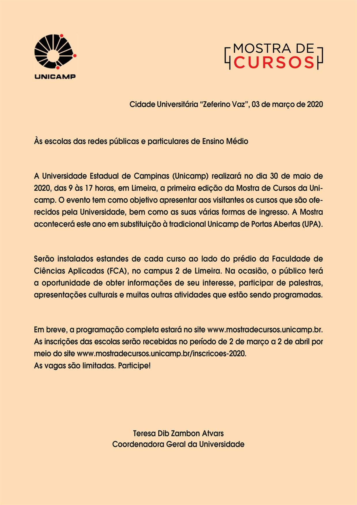 UNICAMP – 30/05/2020 - Mostra de Cursos em Limeira